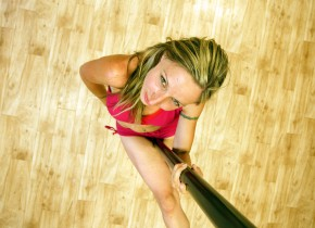 """""""I am trying to show the aerobic side of it, the gymnastic part of it,"""" says Natalie Fustier about pole dancing.  """"For me it is more like Cirque du Soleil."""""""
