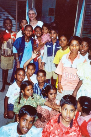 Heather Holm poses with a group of children at the Child Haven home in Kaliyampoondi.  This home cares for 270 children and 35 women.