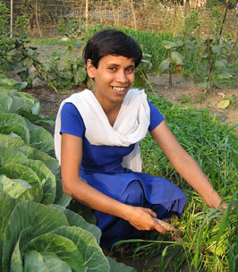 "In Assam, Pompy Ghosh manages Fertile Ground's demonstration garden and training centre.  ""For me, to have this job is unimaginable,"" says Ghosh."