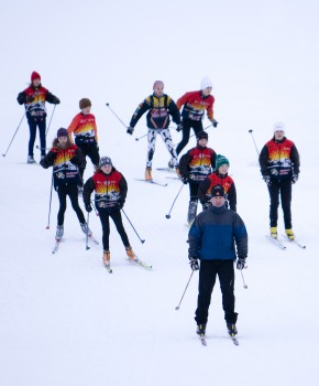 Dave Battison leads a group of Strathcona Nordic skiers at Mount Washington.  The 150-plus skiers in the club range from ages 4-19.
