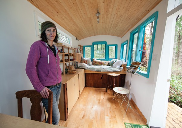"""I want the caravans I build to be beautiful,"" says Michelle Wilson, inside one of her creations.  ""But even more importantly, I want that certain magical quality that you find in buildings which are made with creativity, attention to detail and an appreciation for the materials being used."""