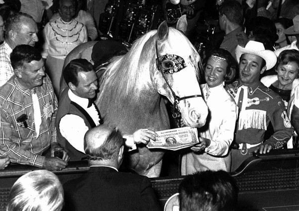 Frosty and Cantarini at the Thunderbird Hotel and Casino on the Las Vegas strip, taken just after the horse rolled a lucky seven and almost caused a riot in the casino as people wanted to touch him for luck.   Photo courtesy Martha Crawford Cantarini.