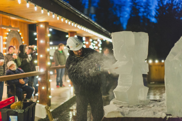 Ice carving demonstrations are part of the fun at Coastal Black.  Photo by Amanda O'Brennan