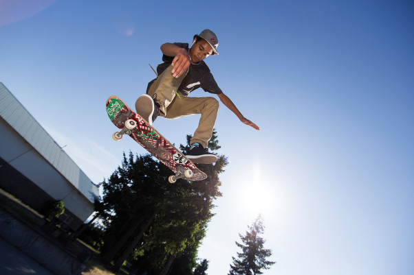 The Comox Valley is home to some up and coming young boarders, including Shay Sandiford, who has won competitions up and down Vancouver Island.  Here Sandiford practices a kick flip at the Isfeld Skatepark.  Photo by Boomer Jerritt