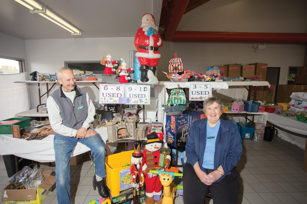Santa's Workshop volunteers John Bernard and Theo Ohlenschlager are just two of the many volunteers who help make Christmas special for Comox Valley children and families. Last year Santa's Workshop had 92 volunteers and catered to 599 children in 271 families. Photo by Boomer Jerritt