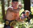 """Chris Anderson takes on the haunting persona of the Bukwas—a Kwakiutl First Nations legend about a revered and powerful figure that translates to """"Wildman of the Woods""""—when in the MMA fighting cage, but in reality Anderson is a spiritual and thoughtful young man who uses his own power to help others. Photo by Boomer Jerritt"""