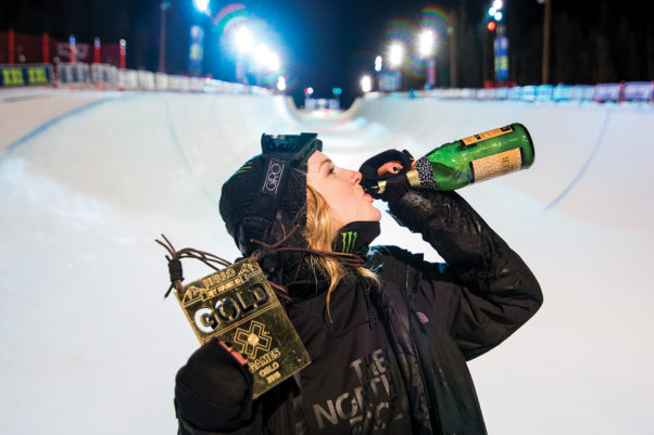 Local freestyle skier Cassie Sharpe celebrates her gold medal win in the women's halfpipe event at the X Games in Oslo, Norway last January. Photo by Shay Williams